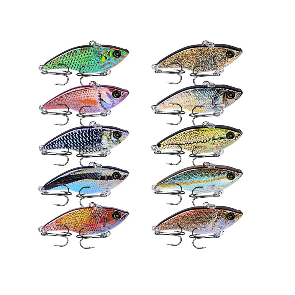 """10 piezas/lote señuelo de pesca duro 10 colores 5,4 cm-2,12 """"cebo de pesca VIB 8 # BKB gancho 14 g-0,49 oz señuelo con 8 # ganchos 2019 nueva llegada"""