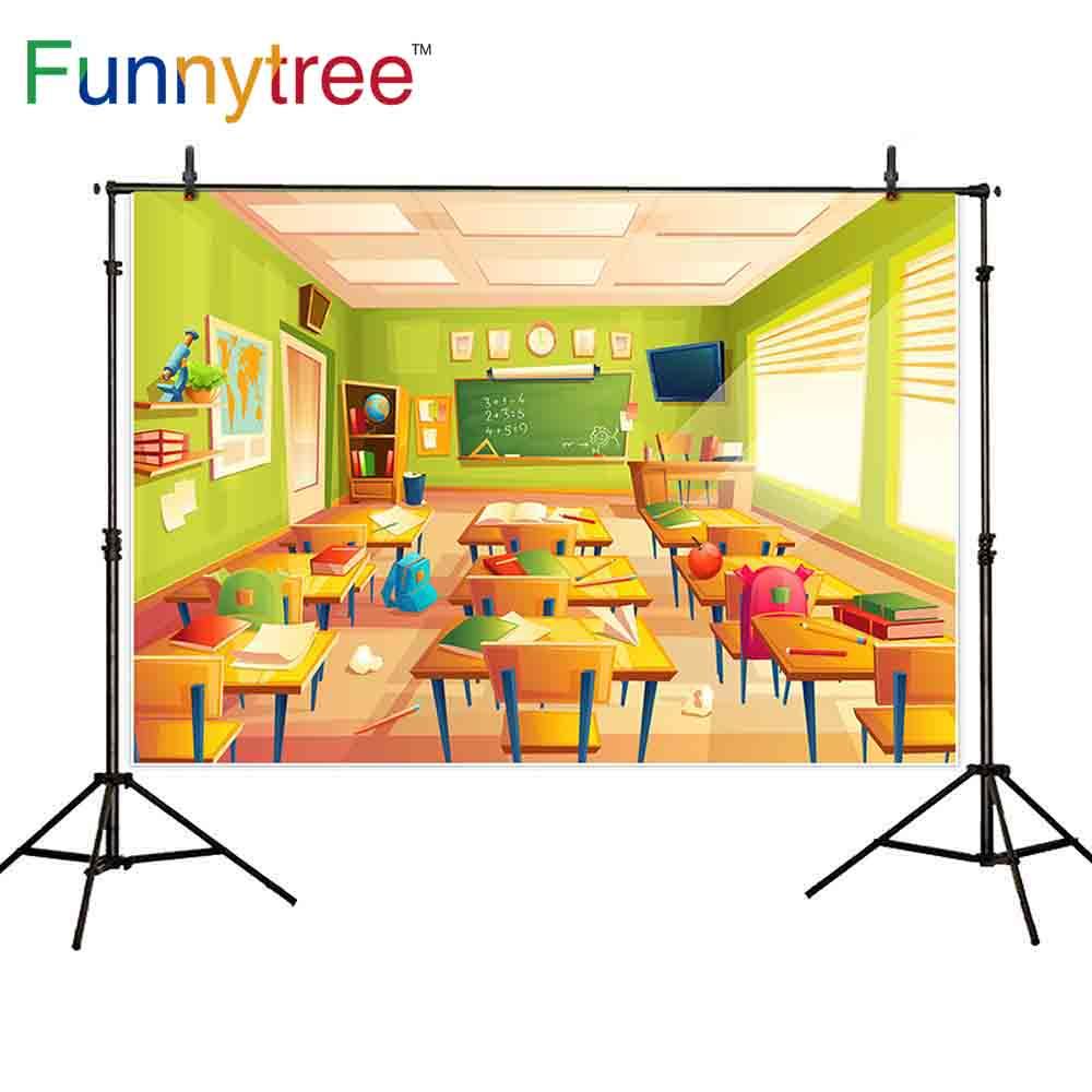 Fondo de árbol divertido para estudio fotográfico aula volver a la escuela dibujos animados estudiante escritorio fotografía Fondo cabina de foto sesión fotográfica