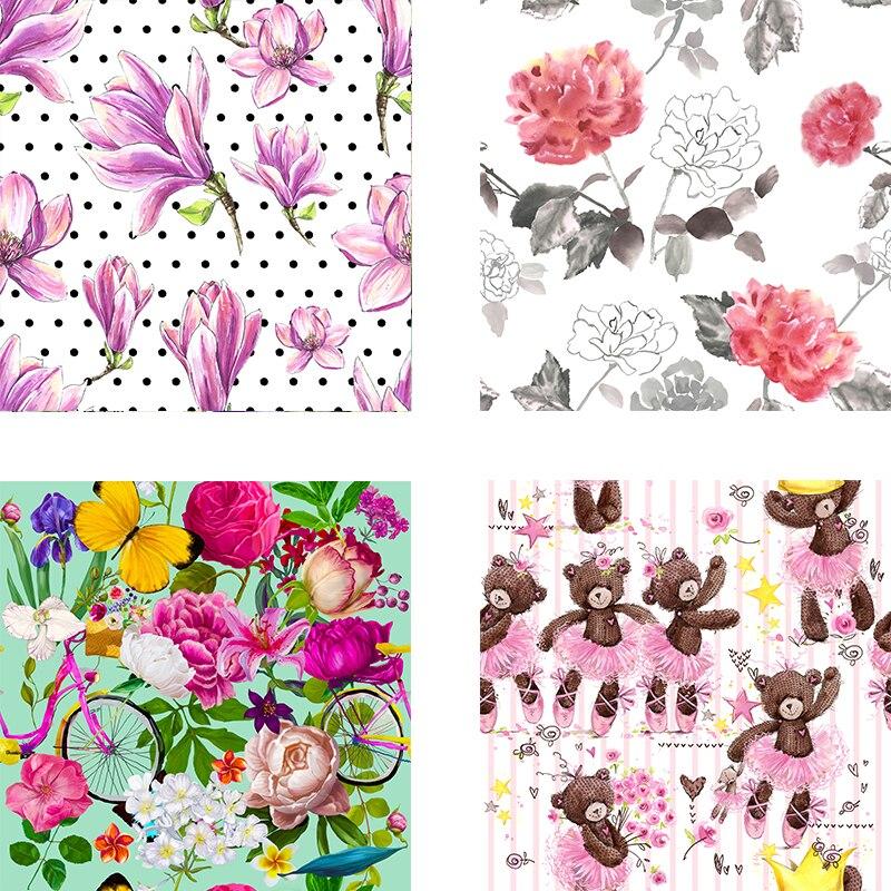 Tela elástica de poliéster para vestido, tela con estampado Digital 3D de alta calidad, tela con estampado floral de animales, tela de costura para camisas diy