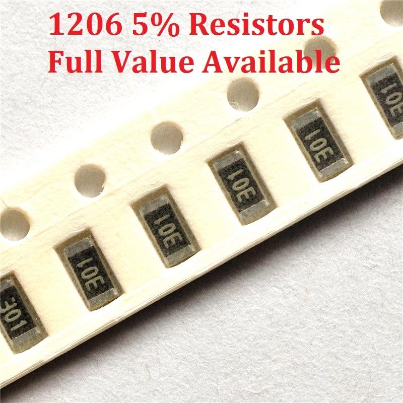 300 91 pçs/lote SMD Chip Resistor 1206 K/100 K/110 K/120 K/130 K/5% Ohm Resistência 91/100/110/120/130/K Resistores Frete Grátis
