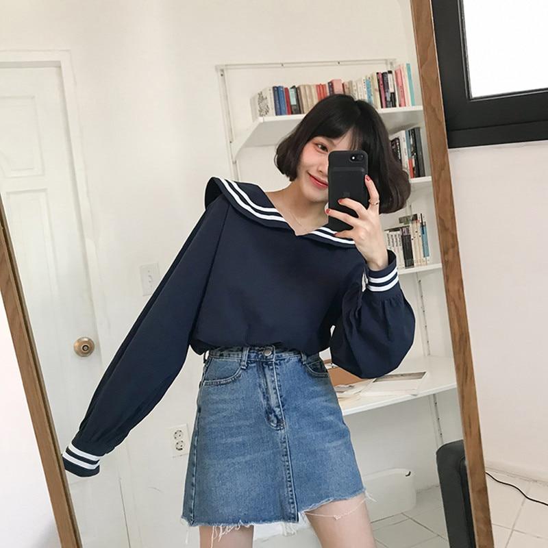 2 cores 2018 outono gola marinha manga longa camisas femininas primavera all-match casual blusa camisa casaco feminino (f3574)