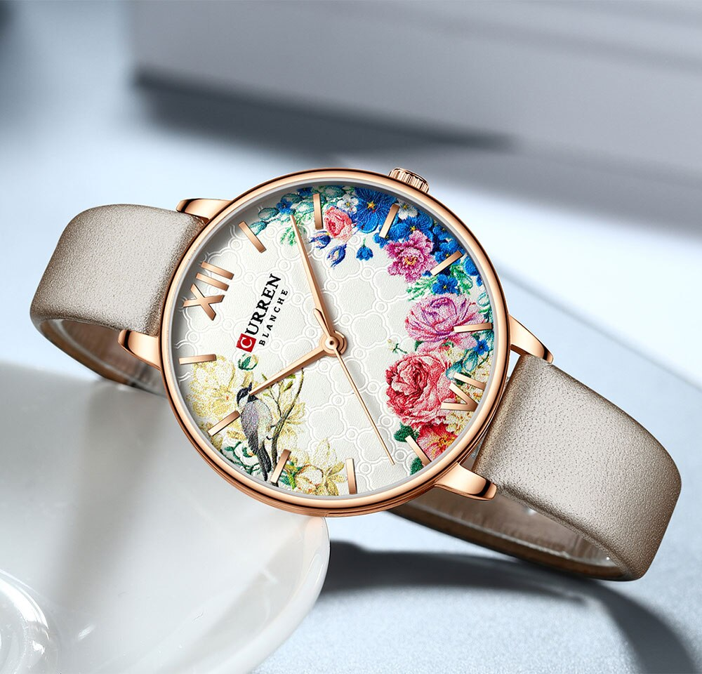 CURREN New Women Watch Flower Ultra-thin Grey Leather Strap Quartz Lady Fashion Lover Wristwatch Reloj Mujer Zegarek Damski Gift enlarge
