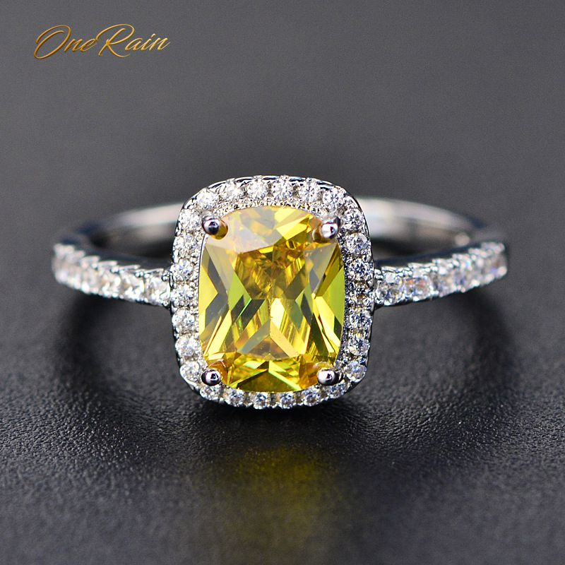 OneRain Classic 100% 925 Sterling Silver Citrine Gemstone White Gold Couple Anniversary Ring Fine Jewelry Wholesale Size 5-11