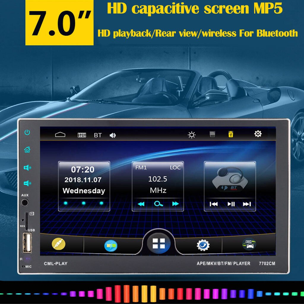 7 pulgadas coche MP5 reproductor inalámbrico Bluetooth pantalla táctil de Radio Estéreo FM/USB/TF MP5 Auto reproductor multimedia accesorios de coche