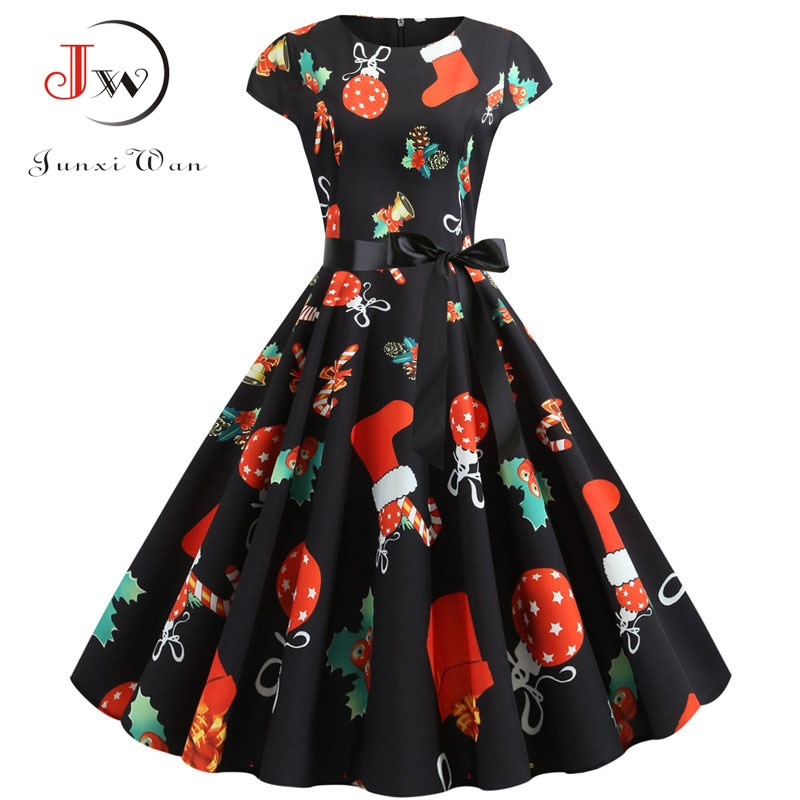 Christmas Dress 2019 Summer Short Sleeve Women Vintage Evening Party Dress Swing Casual A-Line Elegant Print Vestidos Plus Size