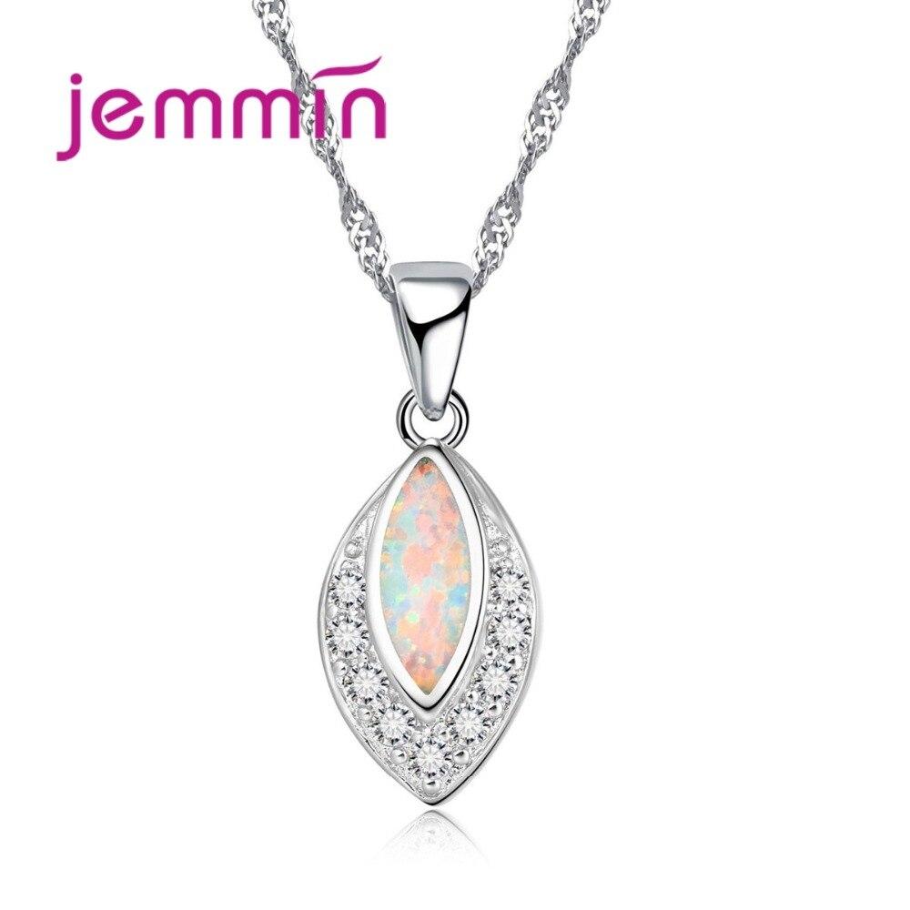 Collar elegante y elegante para mujer, colgante de hoja de ópalo multicolor, joyas de plata esterlina 925 auténticas para Navidad