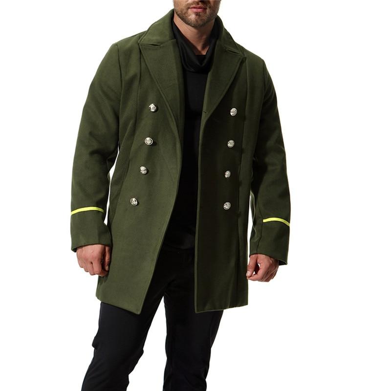 الخريف جديد الأوروبية والأمريكية نماذج نمط معطف غرامة الصوف الصوفية معطف الرجال مقطع طويل الجيش الأخضر سترة واقية حجم XXL