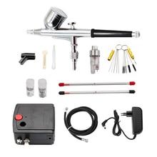 Gravity Feed Dual Action Airbrush With Compressor Paint Spray Gun Kit Tattoo Nail Spray Pen Set Beauty Inkjet Car Repair Tool