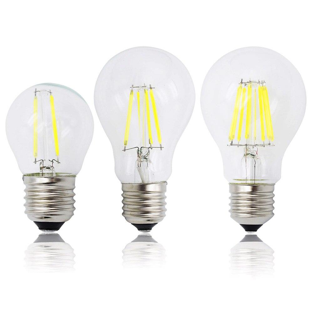 Bombilla de luz con filamento LED atenuable A60 G45 E27, bombillas COB 2/4/6/8 filamentos 220V 230V, lámpara de 10W 15W 20W 25W