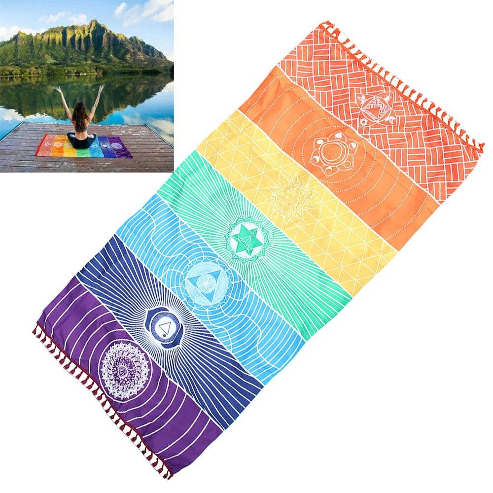 Manta de playa arcoíris caliente manta de Mandala tapiz colgante de pared toalla a rayas mantel cubrir Bikini colcha alfombra de Yoga tapetes 30