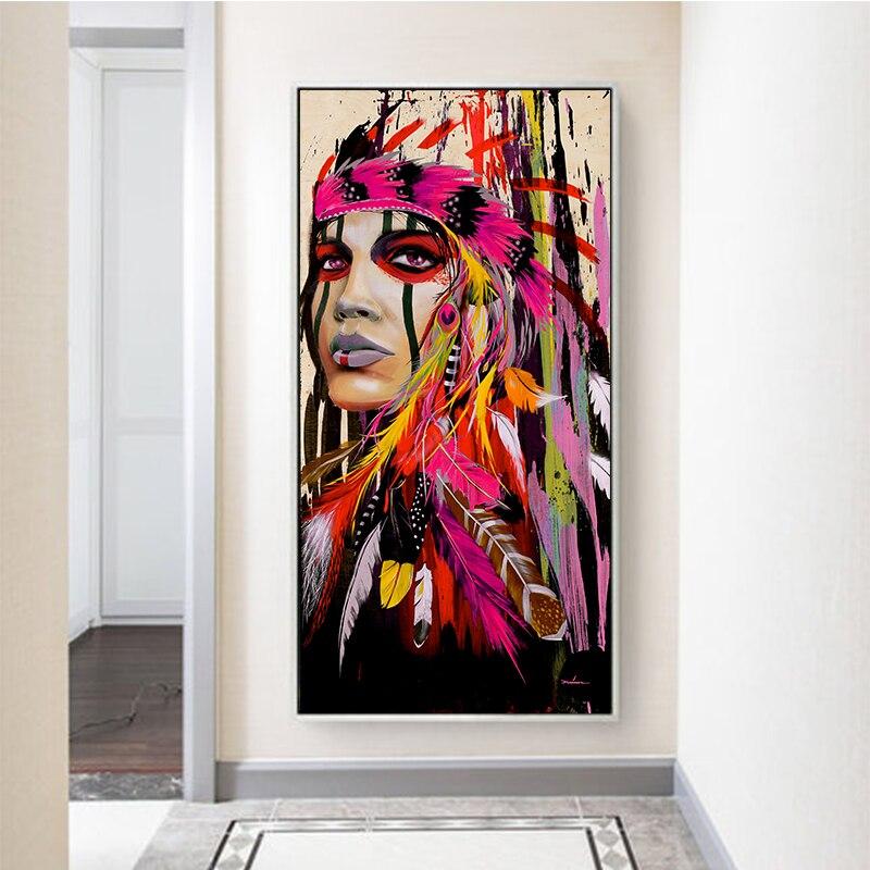 Pintura al óleo colorida de tatuaje para mujer, arte de pared de calle Graffiti, pintura abstracta moderna de plumas africanas para chica, lienzo de retrato para sala de estar