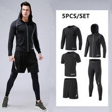Nowy kompresji Sport garnitur mężczyzn działających zestawy Jogging koszykówka bielizna rajstopy sportowej szybkie suche Gym Running odzież fitness