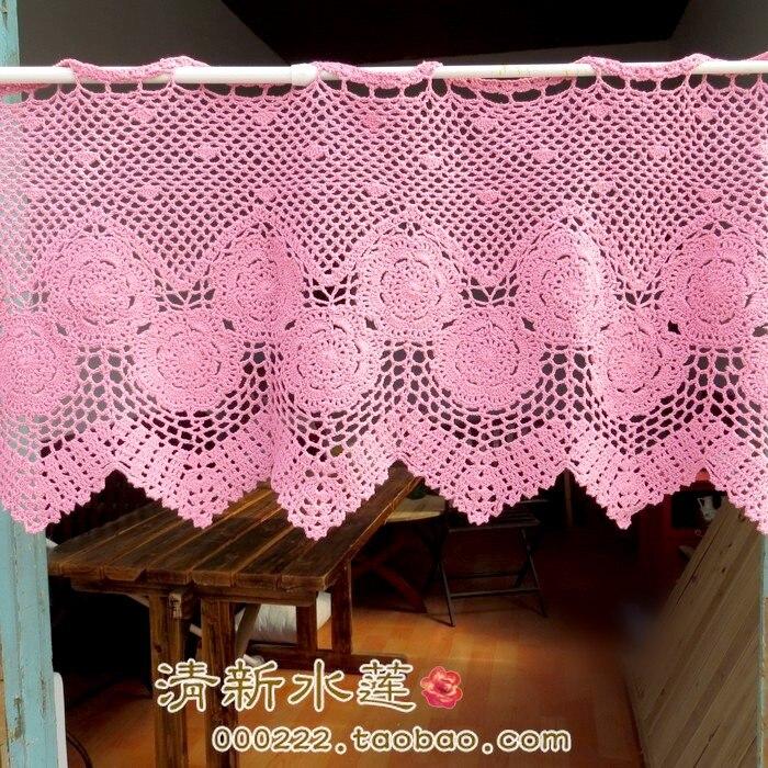 Cortina de algodón para puerta de ganchillo con aguja hecha a mano de estilo francés, 100% de moda vintage rosa, semi-sombra
