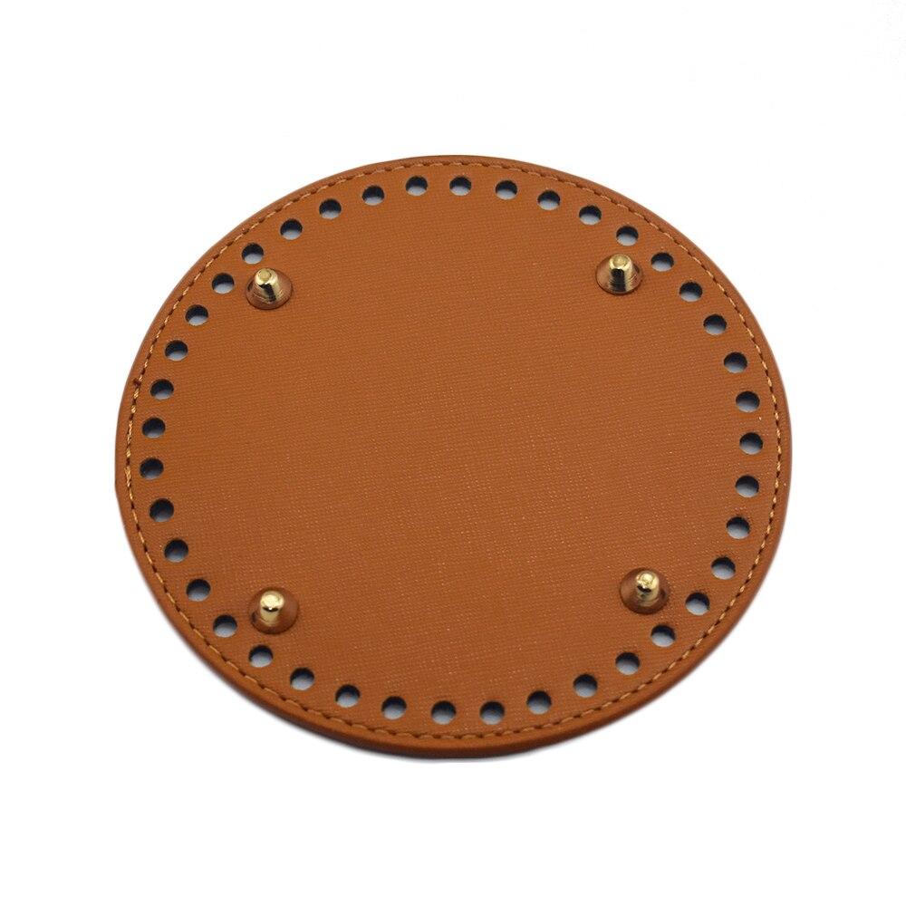 Bolsa de suela de cuero, accesorios para bolso, hechos a mano, DIY, reemplazo, parte inferior redonda marrón para bolso de cubo, bolso cruzado, 14*14cm