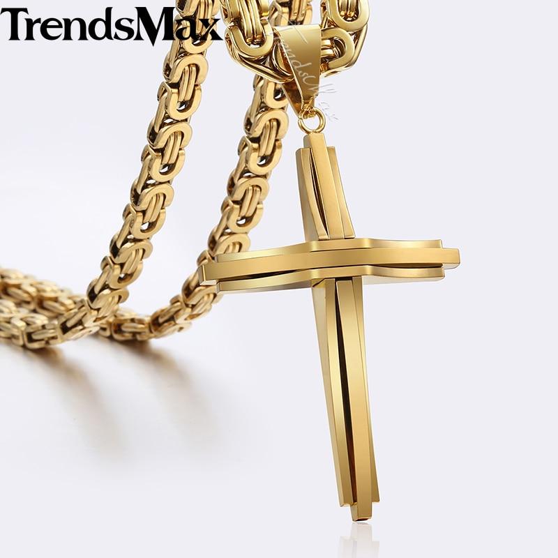 Collar de colgante de Cruz fresco para hombres de acero inoxidable cadena bizantina collares Oro Negro 2018 joyería de moda para hombres KPM82