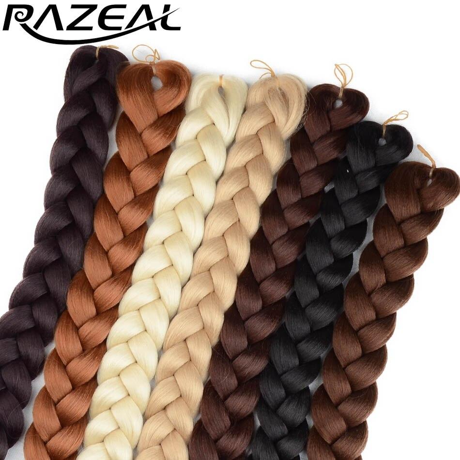 Razeal 24 pulgadas color puro 100g tamaño gigante sintético trenza estilo africano Pelo Largo ganchillo kanekalon trenza pelo