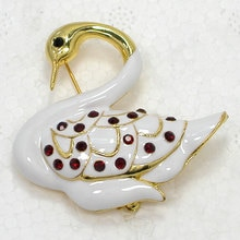 Broche de cygne en émail strass rouge broches C427 C2