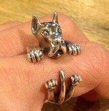 Anillo de gran danés tamaño libre anillo de perro ajustable hecho a mano en relieve aleación chapada entrega rápida