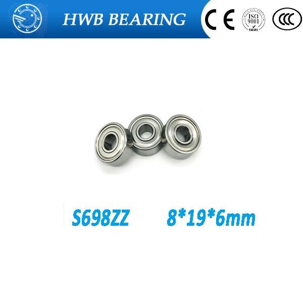 Free shipping 100 s698zz s698 zz ball bearings 8 * 19 * 6mm S698zz stainless steel bearings