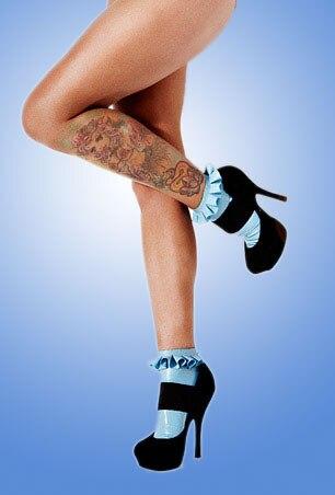 Único agradável azul meias de látex com babados meias de borracha feitos sob encomenda