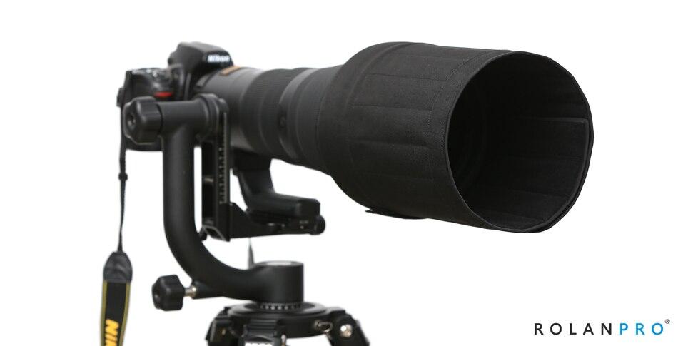 Capucha de lente ROLANPRO para Canon 500mm f/4 IS II USM SLR teleobjetivo plegable lámpara de capó parasol plegable resistente al desgaste