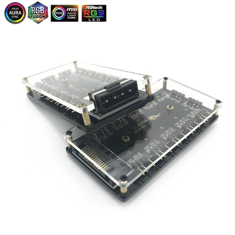 ASUS AURA SYNC 5V 3 broches rvb Hub Interface séparateur 3Pin carte mère ventilateur avec Port dalimentation Molex 4P ou SATA