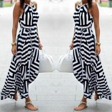 Women Sexy Summer Maxi Long Evening Party Beach Dress Sundress Ladies loose striped fashion long dress vestidos mujer verano