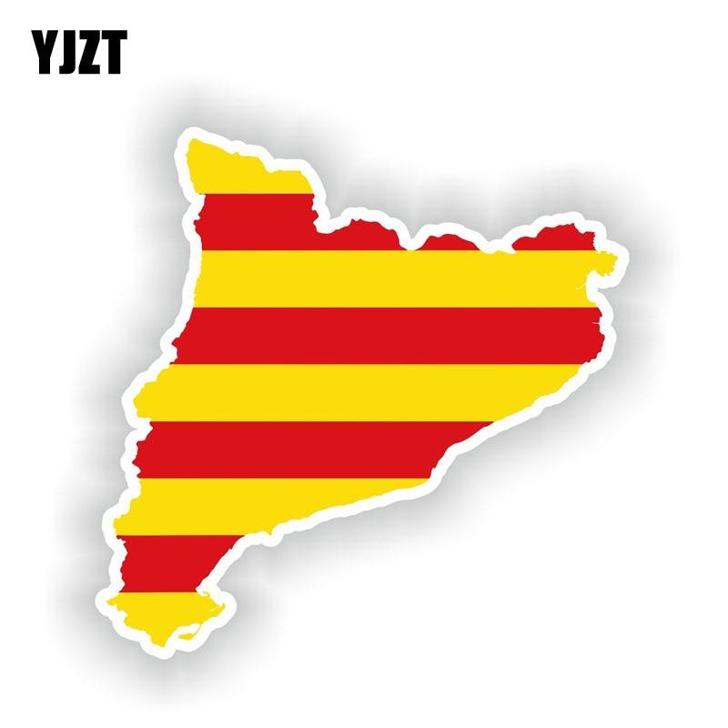 YJZT 13,9 см * 13,9 см автомобильный Стайлинг Каталония карта флаг Автомобильная наклейка Светоотражающая наклейка 6-1607