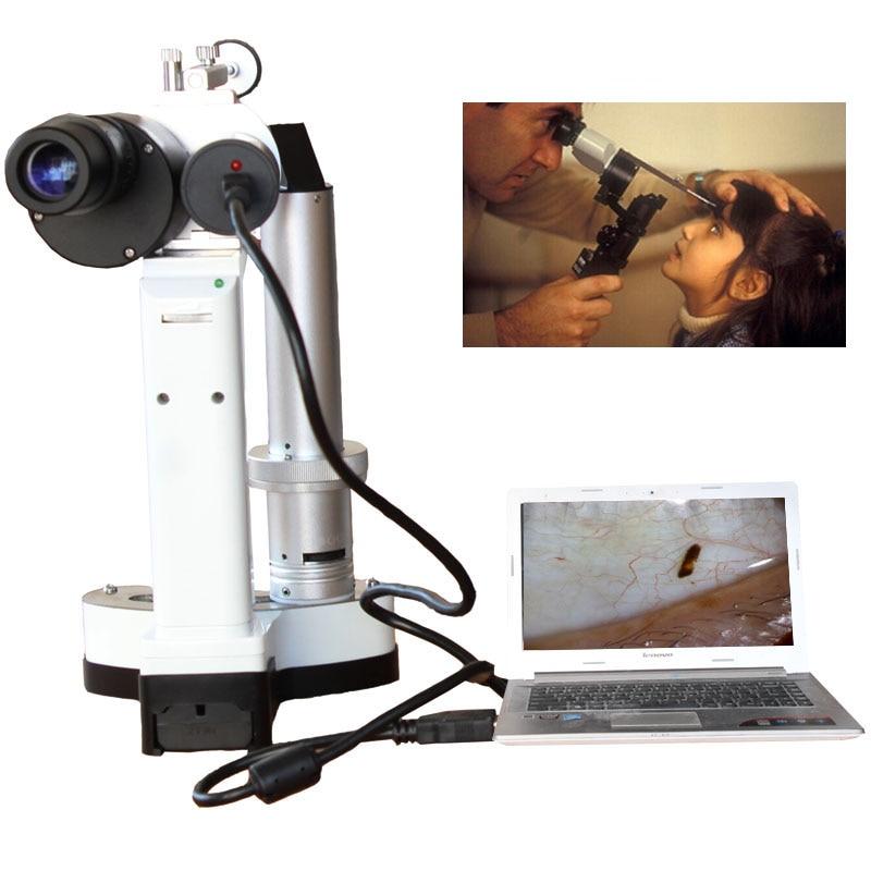 LYL-S المحمولة الشق مصباح LED لمبة المحمولة المجهر للحيوانات الاليفة مستشفى طب العيون كاميرا مجموع 10x و 16x التكبير