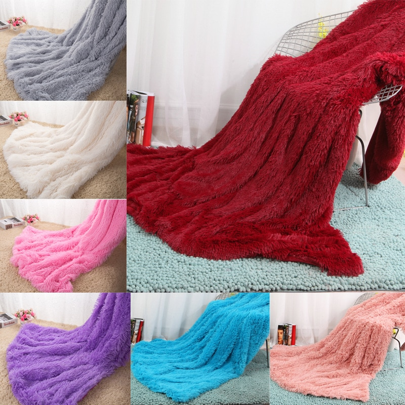 بطانية فاخرة طويلة الوبر ، حريرية ، فرو صناعي ، مفرش سرير مزدوج ، لحاف صيفي أحمر ، لتزيين الزفاف