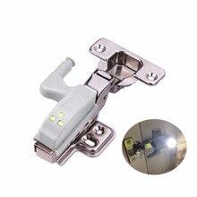 Dobradiça interna universal led luzes do armário 3 leds interruptor de toque automático de ligar/desligar lâmpada cozinha armário armário porta guia lâmpada