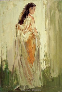 Art supplies hand painted wallpaper Metal wall art Wholesale chinese girl canvas oil painting home decor made in china