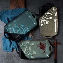 SPSCO gran oferta de vajilla de estilo japonés vidriado reactivo pintado a mano plato de cerámica con dos asas