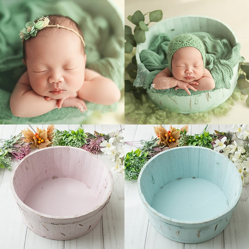 newborn photography props pure color small wooden basin basket baby photography container bebe  photography props