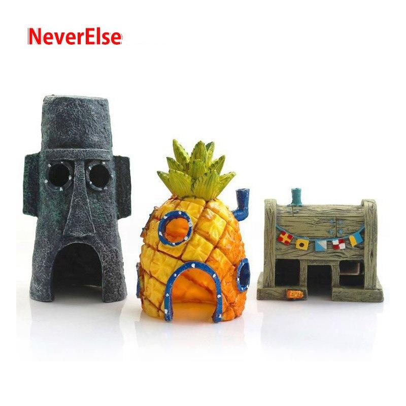 New Aquarium Ornament Pineapple House / Krusty Krab / OctopusEaster Island Head House Betta Fish Tank Bottom Cartoon Decoration