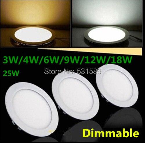 10 unids/lote Ronda 3 W/4 W/6 W/9 W/12 W/15 w/18W25W regulable LED Panel de luz para el hogar 2835SMD 110 v 220 v