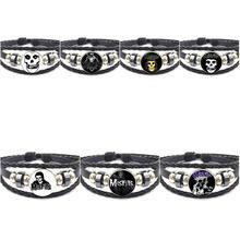 EJ Glaze Fashion Glass Cabochon Black Leather Bracelet Bangle For Woman Vintage Statement Misfits Logo