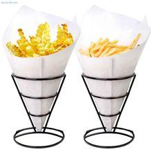 Soporte de cesta de cono de 2 piezas para patatas fritas y aperitivos