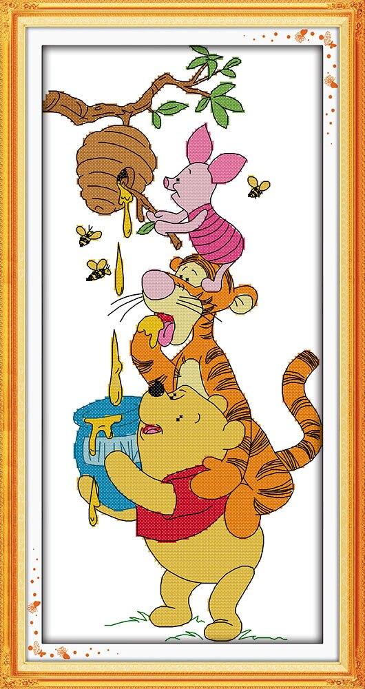 Winnie the Pooh E Roubar Mel Porco Cor de Rosa do Ponto da Cruz do Bordado Needlework Define Presentes Decoração da Parede para Crianças