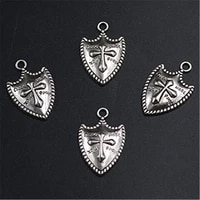wkoud 6pcs silver plated retro cross shield charm necklace bracelet diy metal punk style jewelry jewelry alloy pendants a1296