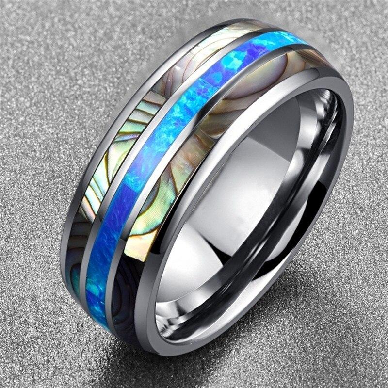 Кольцо из нержавеющей стали FDLK 8 мм, кольцо из твердого сплава с синим огненным опалом и инкрустацией оболочки для мужчин и женщин, кольцо для свадьбы и Помолвки