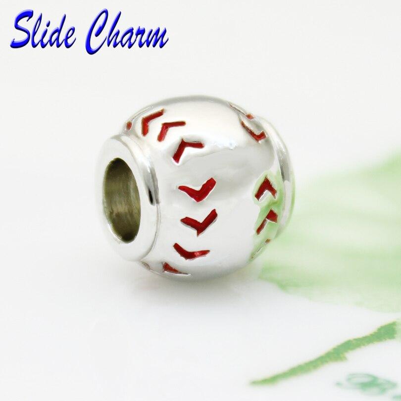 Rutsche charme Freies verschiffen Neue Europäische mode rot emaille charm perlen fit Pandora armband baseball