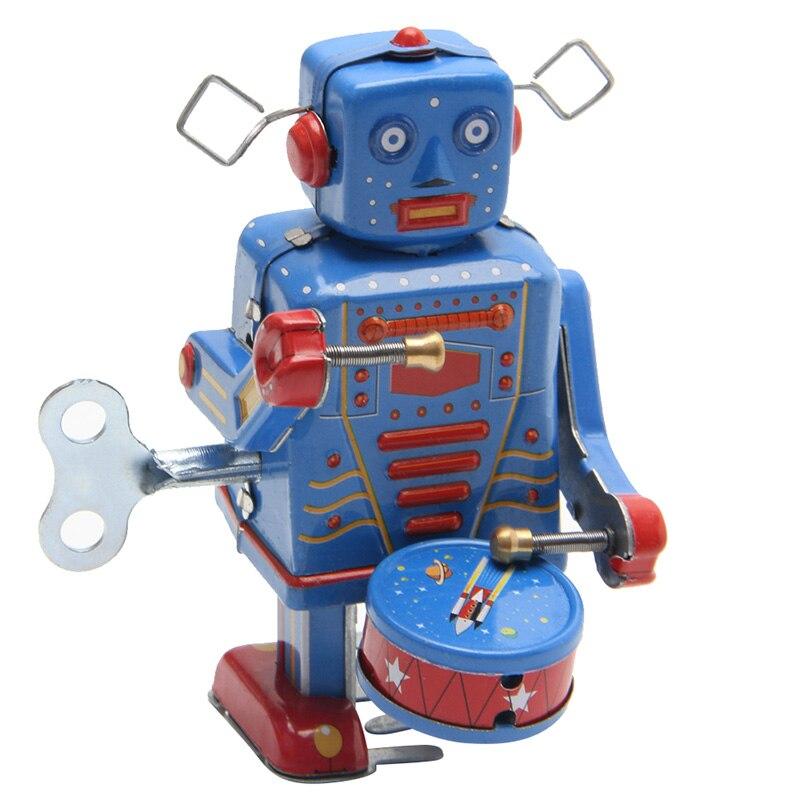 Reloj de juguete Retro para niños, Robot que camina, de Metal, Vintage,...