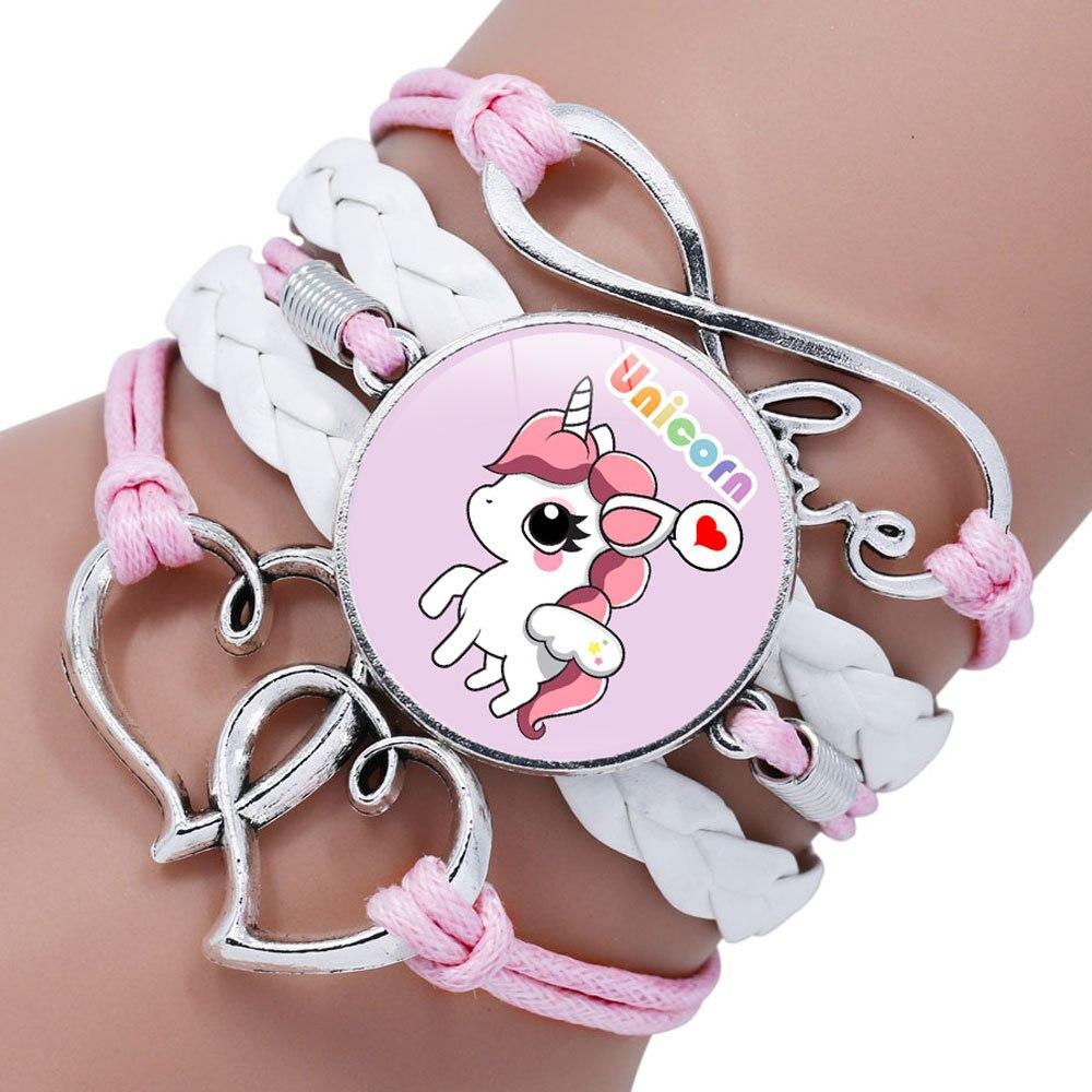 Pulsera con diseño de unicornio para niños, pulsera con diseño de muñeca adorable para niña, accesorios de ropa, brazalete, pulsera tejida con diseño de joyería para chico
