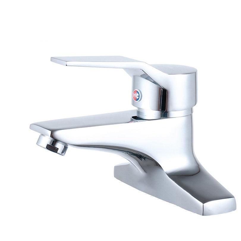 Grifo de lavabo de latón macizo, grifo mezclador de lavabo de dos agujeros, manija única, Grifo de Agua Fría y caliente