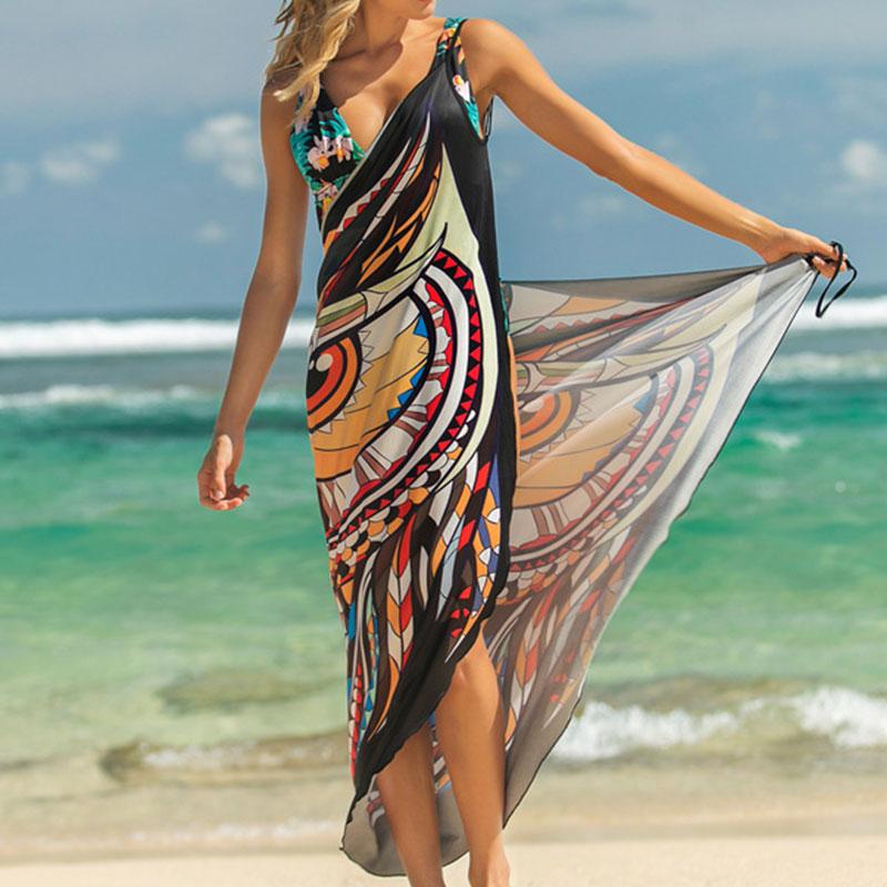 2019 Beach Dress Printed Animal Print Wrap Slip Tunic Summer Women Tunics Sarong Beach Mat Wear Cover Up
