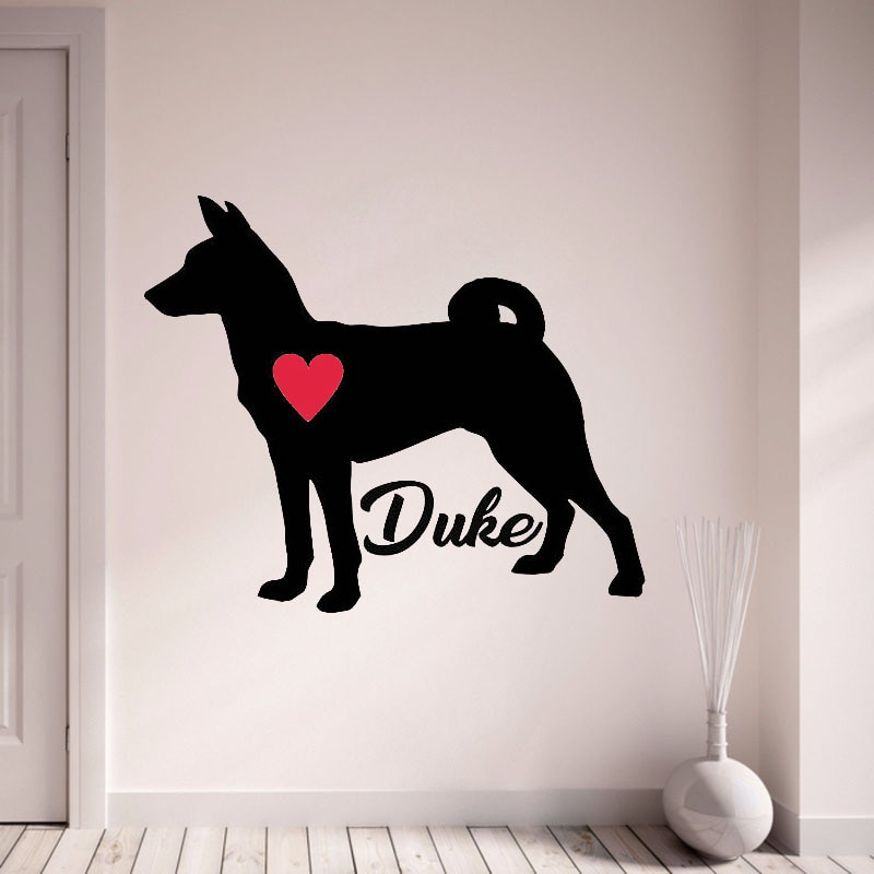 Pegatina de Basenji para personalizar con el nombre de tu perro, pegatina de pared para mascota, pegatinas de perro para pared para sala de estar, decoración del hogar L138