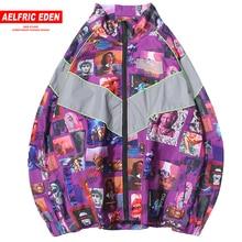 Aelfric Eden 3M Reflective Stripe Patchwork Jackets Men 2018 Autumn Hip Hop Windbreaker Full Zip Jacket Coats Streetwear UR40