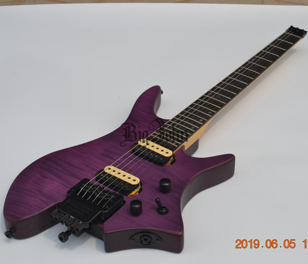 Nuevo sin cabeza guitarra eléctrica mate púrpura parte superior de arce flameado cuerpo de caoba y Rosewood diapasón BJ-195