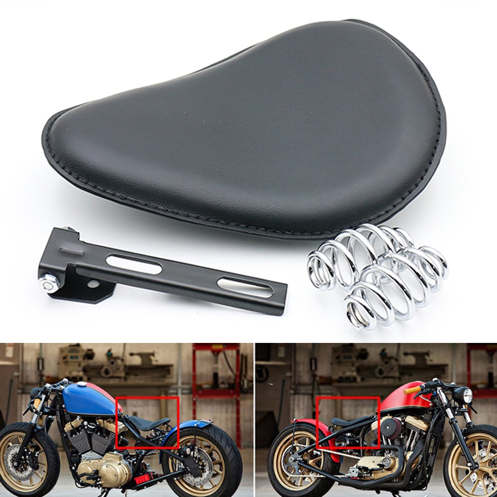 De cuero de la motocicleta de la Sportster helicóptero Bobber de SOLO primavera soporte de asiento para Harley asiento individual Cafe Racer